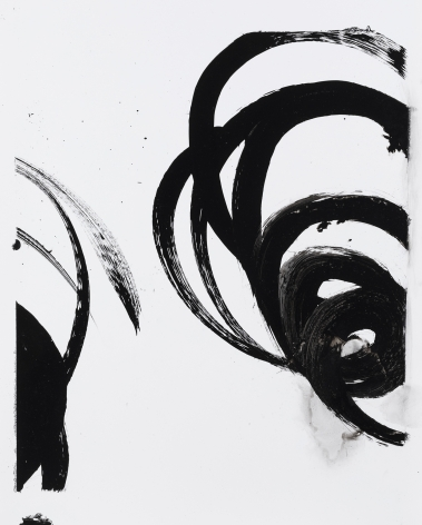 Black and white circular gestural abstract painting titled Lotan I by Christopher Rico