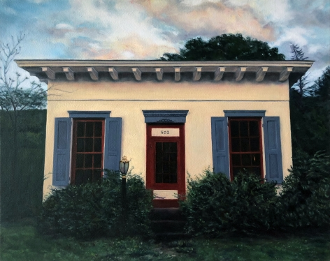 Painting by Edie Nadehaft of facade of a white house in the countryside