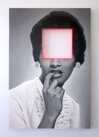 James Rieck black and white painting titled Mostly Psychological portrait of african american woman in white shirt with her face cropped out of image