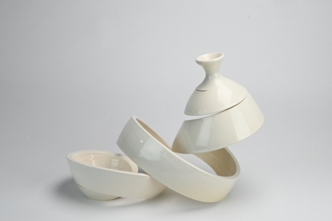 Ceramic vase sculpture by Michael Boroniec tilted Spatial Spiral: Recline, Ceramic with white glaze measuring 13 x 9.5 x 7.5 inches