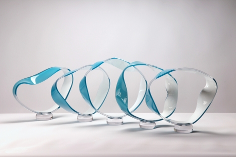 Surge (Aqua), 2020, Blown and hot sculpted glass
