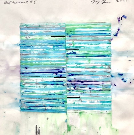 Mark Zimmermann green striped abstract meditations work on paper acrylic and graphite 12 x 12 inches