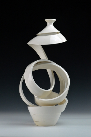 Ceramic vase sculpture by Michael Boroniec tilted Spatial Spiral: Ribbon 3, 2019, Ceramic with white glaze measuring 16.5 x 7.5 x 7.5 inches