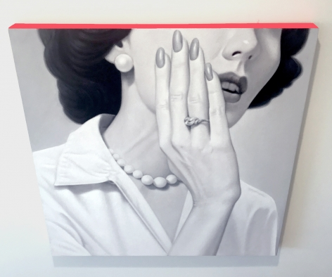 James Rieck black and white painting titled of white female with her hand covering her mouth