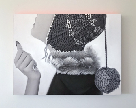 James Rieck black and white painting titled of white female wearing a knitted cap with long pom pom