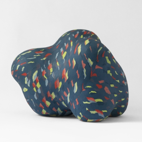 Ceramic sculpture by Janny Baek titled Cocoon, Colored porcelain w/color weave pattern, 12 x 16 x 11 in