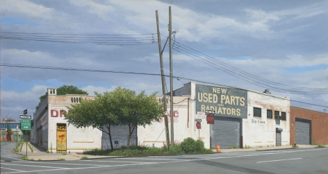 Valeri Larko painting titled Hunts Point Warehouses, Bronx, 2019, oil on linen, 32 x 60 inches imagery ubran landscape blighted warehouse buildings in the Bronx, NY