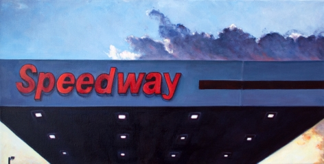 Edie Nadelhaft painting titled Speedway Washington North Carolina, 2020, Oil on Canvas 10 x 12 inches imagery of Speedway gas station signage