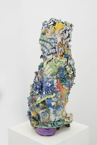 mulitcolored ceramic by Lauren Skelly Bailey titled Forge  2021, glazed ceramic, slip, pigment  17 x 7 x 7 in