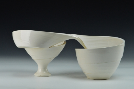 Ceramic work by Michael Boroniec titled Spatial Spiral Swirl, white spiral ceramic vessel that bends in half horizontally
