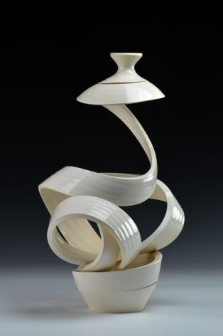 Ceramic vase sculpture by Michael Boroniec tilted Spatial Spiral: Venus, 2019 Ceramic with white glaze measuring 14.5 x 9 x 8.5 inches