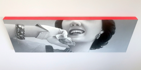 James Rieck black and white painting titled of white female wearing white glove and gold bracelet with her face cropped from image