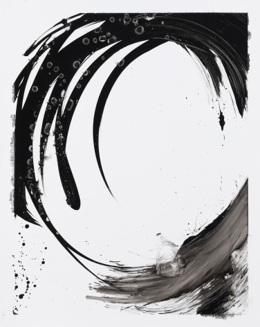 Black and white circular gestural abstract painting titled Lotan II by Christopher Rico