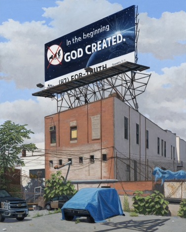 Valeri Larko painting titled In the Beginning, Bronx, 2019, oil on canvas, 30 x 24 inches imagery urban landscape with blighted 3 story red brick building with billborad advertisement on rook stating title of painting, car covered in blur tarp and black GMC truck