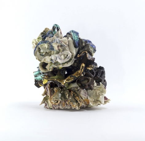 ceramic by Lauren Skelly Bailey titled Mini Horde  2021, Glazed basalt, stoneware, porcelain clay with slip & acrylic  4.5 x 4 x 3 in
