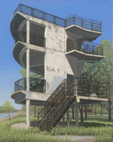 Valeri Larko painting titled Observation Tower, Orchard Beach, Bronx, 2019, oil on canvas, 30 x 24 inches urban landscape featuring blighted concrete observation tower from the 1964 World's Fair