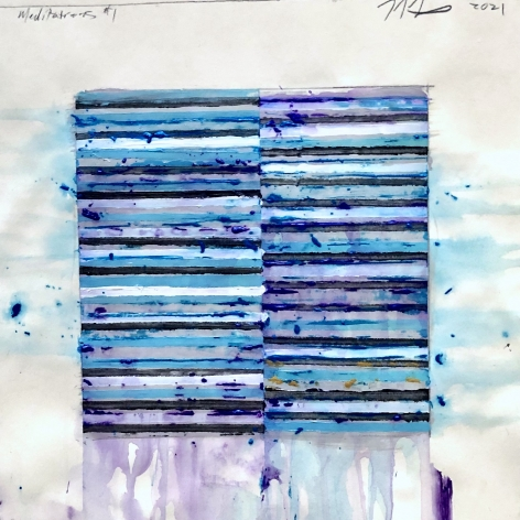 Blue striped abstract painted work on paper by Mark Zimmerman