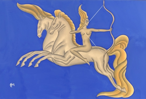 Diana The Huntress on Horseback, c. 1930s, Gouache on board