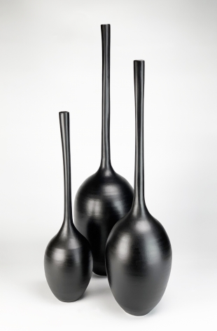 Ceramic vase sculptures by Michael Boroniec tilted Gourd Vessels (Trio), 2019, Ceramic with black glaze measuring approximately 26 x 18 x 10 inches