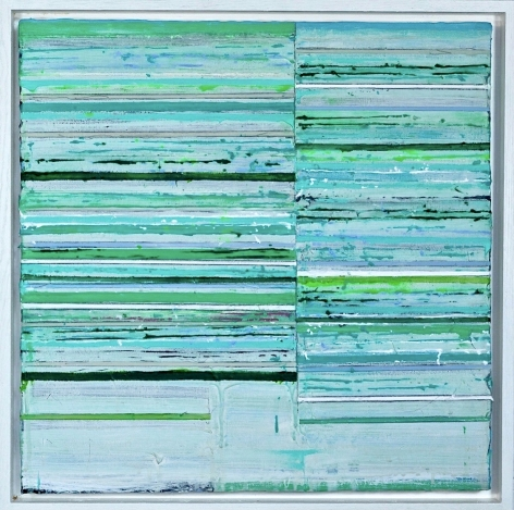 Mark Zimmermann green striped abstract painting titled Centuriata, acrylic and graphite on canvas in artist frame, 22 x 22 inches framed