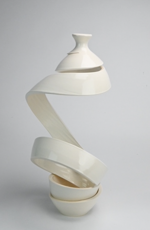Ceramic vase sculpture by Michael Boroniec tilted Spatial Spiral: Ribbon, 2021 Ceramic with white glaze measuring 18.5 x 11 x 9 inches