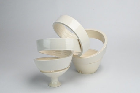 Ceramic vase sculpture by Michael Boroniec tilted Spatial Spiral: Arc, Ceramic with white glaze measuring 14.5 x 12 x 7.5 inches