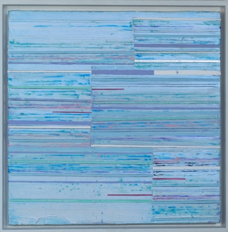 Mark Zimmermann turquoise striped abstract painting titled Vesta, acrylic and graphite on canvas in artist frame, 22 x 22 inches framed