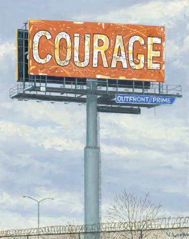 Valeri Larko painting titled Sign of the Times XI (Courage), 2019, oil on panel, 10 x 10 inches imagery urban landscape featuring billboard with the word COURAGE