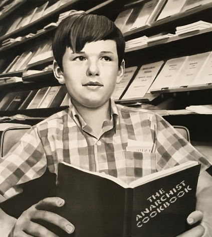 David Lyle painting of young boy in checkered shirt sitting reading a book in library titled the anarchist cookbook