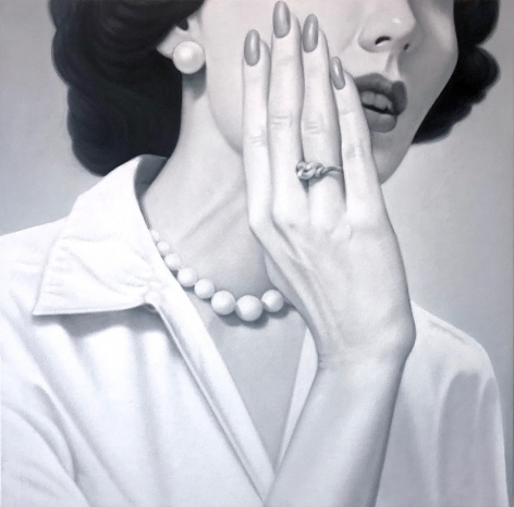 James Rieck black and white painting titled Whisper portrait of female wearing white shirt with pearl necklace and hand to her face