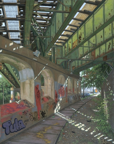 Valeri Larko painting titled Train Trestle Boston Road, Bronx, 2019, oil on canvas, 30 x 24 inches imagery view of Secor Ave Train Trestle and sidewalk, Bronx