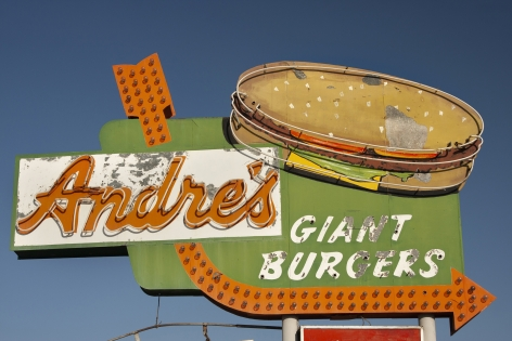 color photograph of neon sign of hamburger by photographer steve lewis