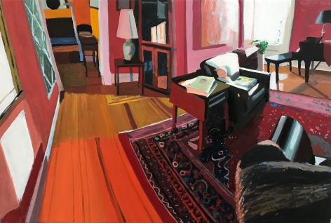 Chelsea Gibson painting titled Celeste in My Parent's Living Room, 2020, Oil on panel 15 x 20 inches imagery caucasian baby sitting in chair in large living room