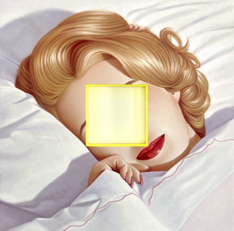 Color painting by James Rieck titled Close Your Eyes, portrait of woman sleeping with cropped out face in center