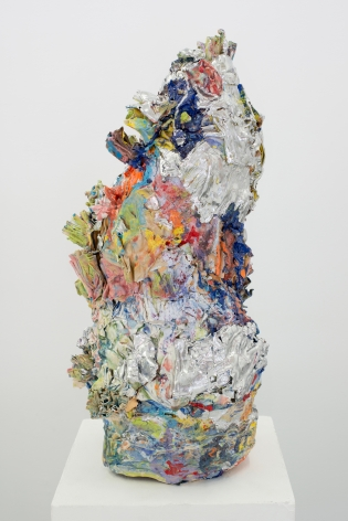 ceramic by Lauren Skelly Bailey titled Betwixt  2021, Glazed stoneware, slip, and acrylic  18 x 7 x 7 in