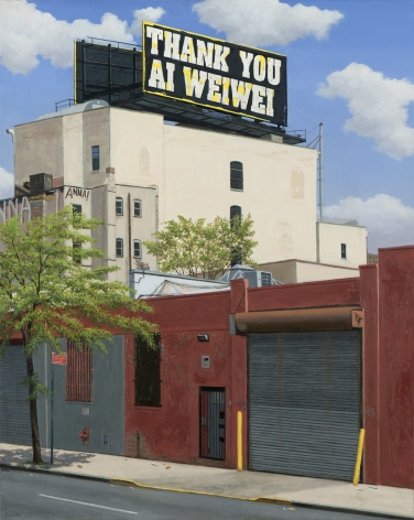 Valeri Larko painting titled Thank you Ai WeiWei, Bronx, 2019, oil on canvas, 30 x 24 inches imagery urban landscape with one story red brick building with roll-up garage door, multi story white building in background with billboard stating Thank You Ai Weiwei