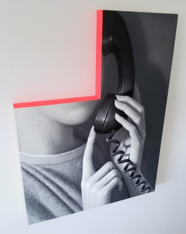 James Rieck black and white painting titled One Moment of white female on the phone with face cropped