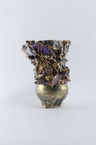 ceramic by Lauren Skelly Bailey titled Victory Reef, Glazed stoneware, slip, acrylic 7 × 4.5 × 4 in