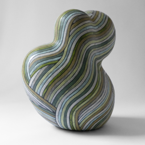 Untitled ceramic by Janny Baek (Sculpture with green wrapped line pattern)