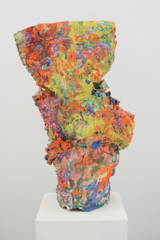 Orange and multicolored layered ceramic vase titled Surface Over Substance by Lauren Skelly Bailey Glazed ceramic, slip, pigment  25.5 x 9 x 6 in
