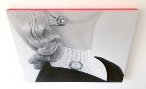 James Rieck black and white painting titled Charming Dickie of white female in white turtle neck dickie and round brooch
