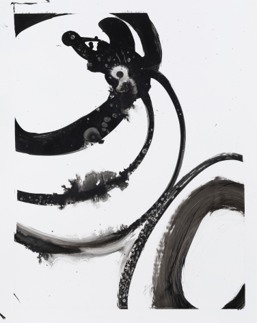 Black and white circular gestural abstract painting titled Lotan III by Christopher Rico