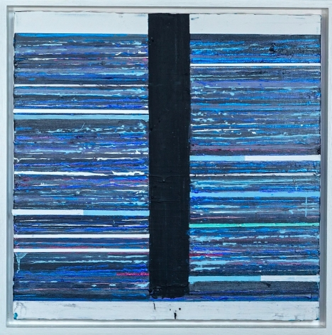 Mark Zimmermann stripped abstract painting blue acrylic and graphite on canvas in artist frame