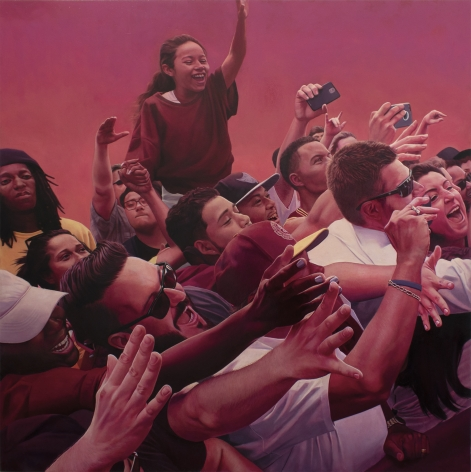 Mary Henderson painting titled Again and Again, 2020, Oilon panel 42 x 42 in inches imagery of crowd scene of young people