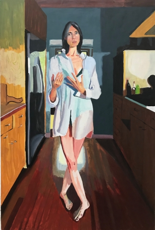 Chelsea Gibson painting titled Jeri Describing Childbirth 2, 2019, Oil on panel, 30 x 20 inches imagery caucasian women standing barefoot in kitchen wearing large white button up shirt