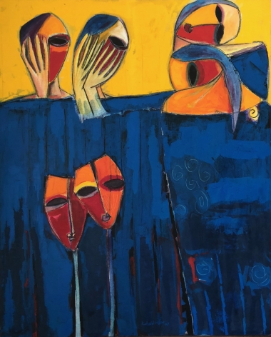 brightly colored figurative painting by Khalid Nadif featuring group of four masked group women