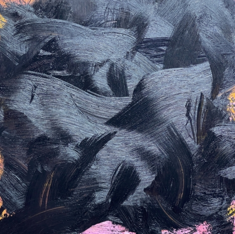 James Austin Murray painting titled Undercolor 7/21-4 in black with small orange detail 30 x 30 inches