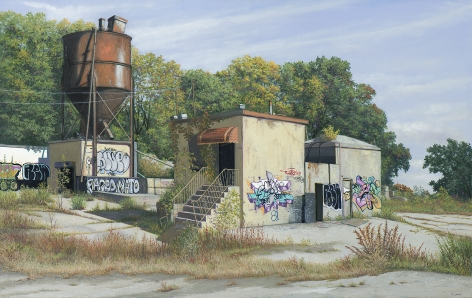 Valeri Larko painting titled Nelstad Concrete Plant, 2018, oil on linen, 32 x 64 inches imagery urban landscape of derelict building and water tower covered in graffiti