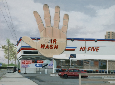 Valeri Larko painting titled Hi Five, Bronx, 2019, oil on panel, 12 x16 inches imagery ubran landscape featuring car wash and auto parts store in the Bronx, NY
