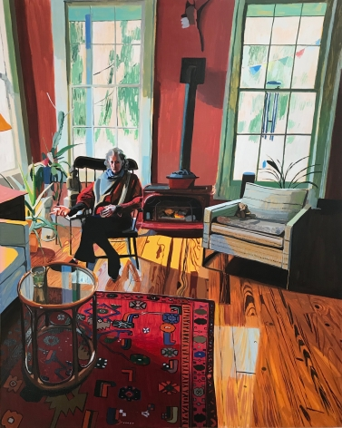 Chelsea Gibson painting titled Kaima's Living Room, 2019, Oil on panel, 50 x 40 inches imagery caucasian women sitting in red living room, rocking chair, red carpet, glass coffee table, wood burning stove and two large windows